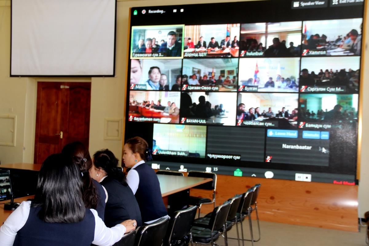 Сумдын Засаг даргын Тамгын газар, төсөвт байгууллагын албан хаагчидтай цахим хурал хийлээ