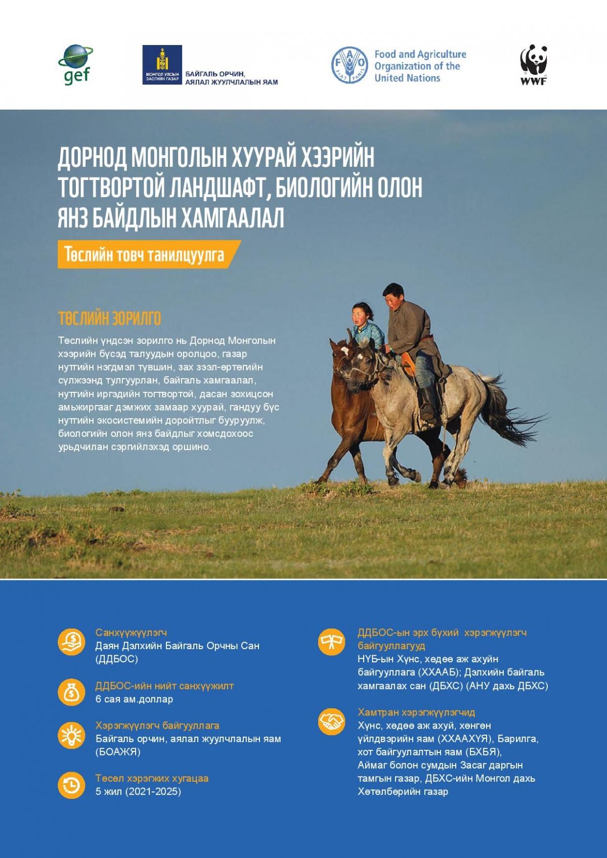 Дорнод Монголын хуурай хээрийн тогтвортой ландшафт, биологийн олон янз байдлын хамгаалал төсөл